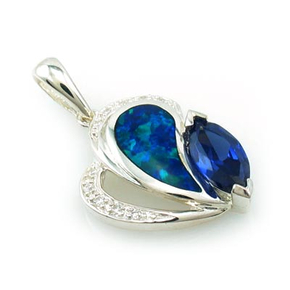 Marquise CutTanzanite and Opal Pendant