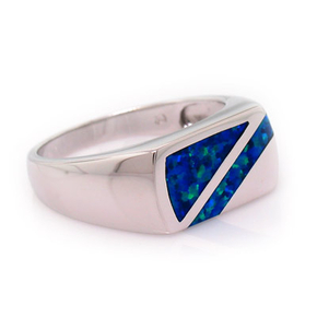 Australian Opal and Silver Mens Ring