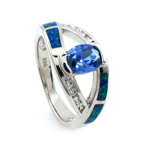 Double Band Australian Opal Ring with Tanzanite