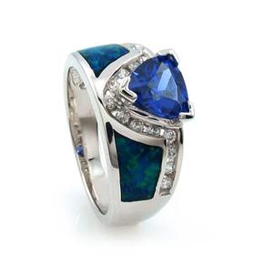 Australian Blue Opal Ring with Tanzanite