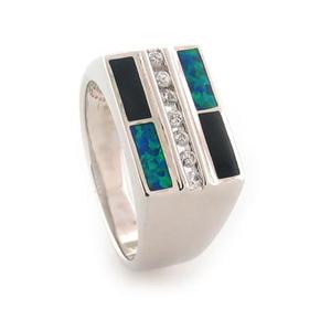 Onyx and Australian Opal Unisex Ring