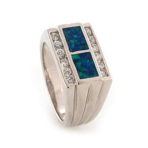 Australian Opal with CZ Unisex Ring