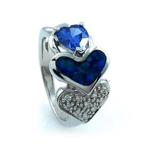 Australian Opal Heart Ring with Tanzanite