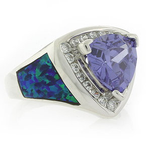 Big Australian Opal Ring with Tanzanite