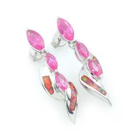 Pink Australian Opal with Pink Sapphire Earrings