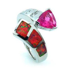 Australian Opal Ring with Pink Trillion Cut Sapphire