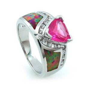 Bezel Set Opal and Red Ruby Ring in Sterling Silver with White Gold Plating