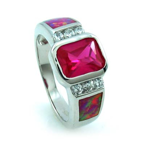 Ruby Ring with Australian Opal