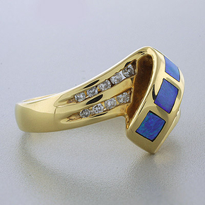 Inlaid Australian Opal Genuine Diamond Ring