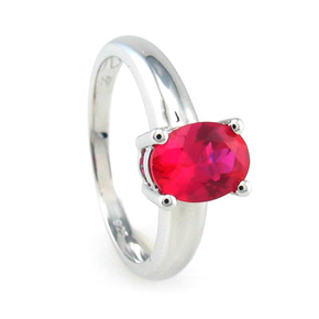Ring With Ruby In Sterling Silver
