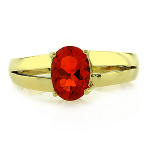 14K Yellow Gold Mexican Cherry Fire Opal Ring