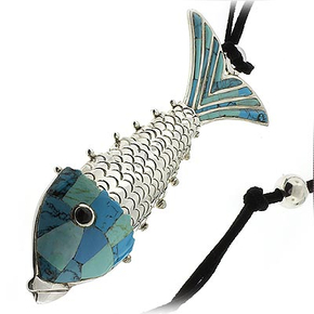 Sterling Silver Hand Made Turquoise Fish Pendant
