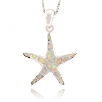 White Australian Opal Sea Star Fish Silver Pendant