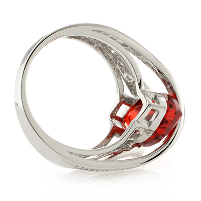 Mexican Marquise Cut Fire Cherry Opal Silver Ring