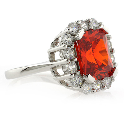 Stylish Sterling Silver Fire Cherry Opal Ring