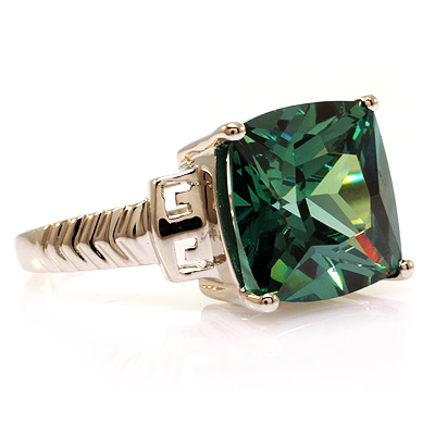 Square Cut Sterling Silver Alexandrite Ring