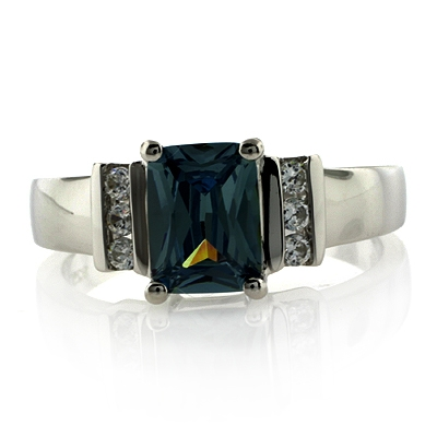 Beautiful Emerald Cut Alexandrite Sterling Silver Ring