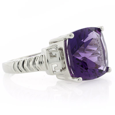 Amethyst Ring | Cushion Cut Amethyst
