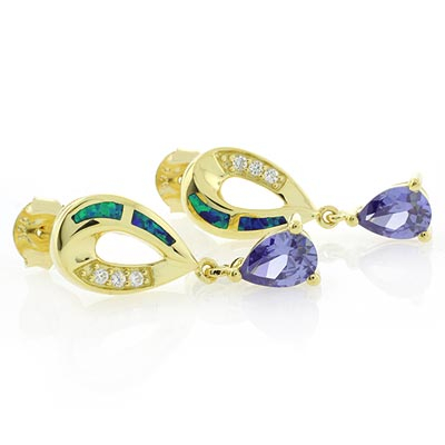 Opal & Tanzanite Silver Drop Earrings