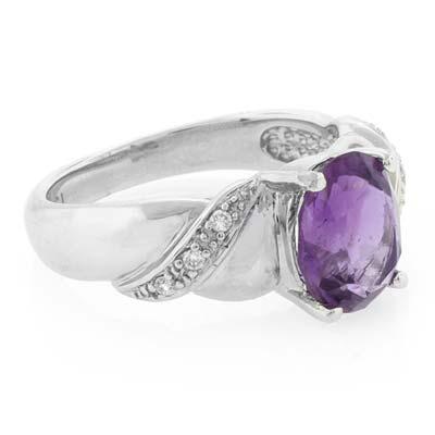 Genuine Amethyst Silver Ring