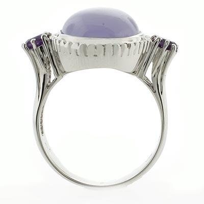 Genuine Pink Jade and Amethyst Silver Ring