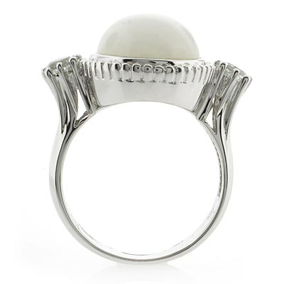 Genuine White Jade and Amethyst Silver Ring