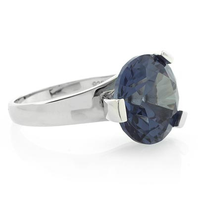 Round Huge Alexandrite Changing Color Sterling Silver Ring