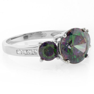 Sterling Silver 3 Stone Mystic Topaz Ring