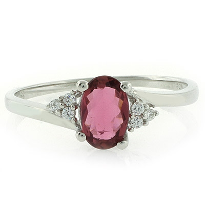 Authentic Rubellite Sterling Silver Ring