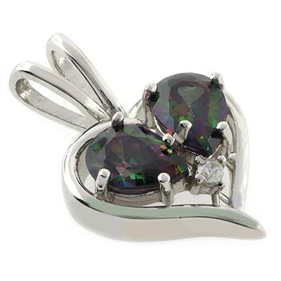 Mystic Topaz Silver Heart Pendant