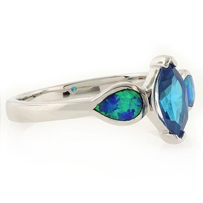 Blue Topaz and Australian Opal Stylish Ring