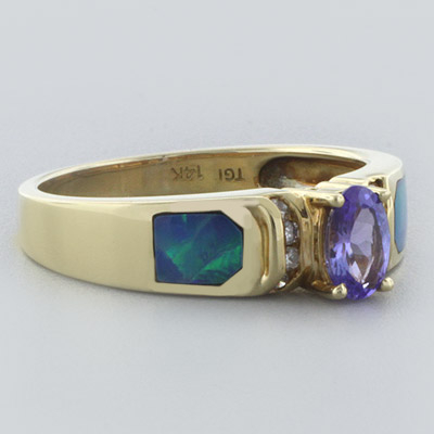Genuine Australian Opal and Tanzanite 14 Karat Gold Ring with Diamonds