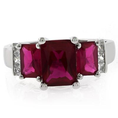 3 Emerald Cut Stone Ruby Ring
