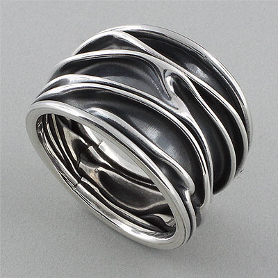 Crushed Band Silver Oxidized Inclined Ring