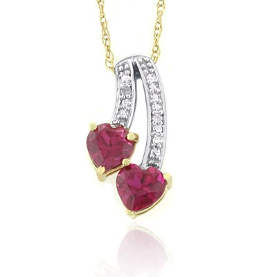 10k yellow gold ruby double heart pendant necklace silverbestbuy 10k yellow gold ruby double heart pendant necklace aloadofball Gallery