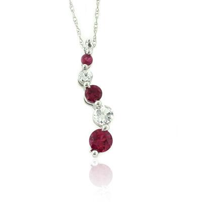 Ruby Gemstone 10K White Gold Pendant Necklace Journey Style