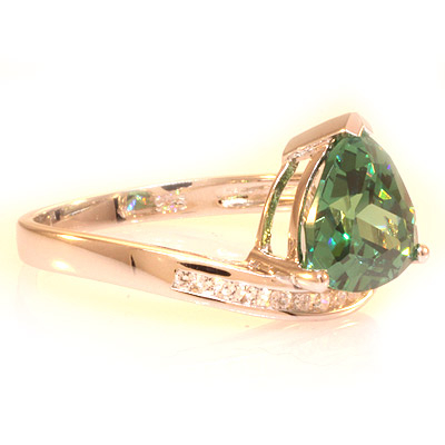 Silver Trillion Cut Alexandrite Ring Blue to Green Color Change