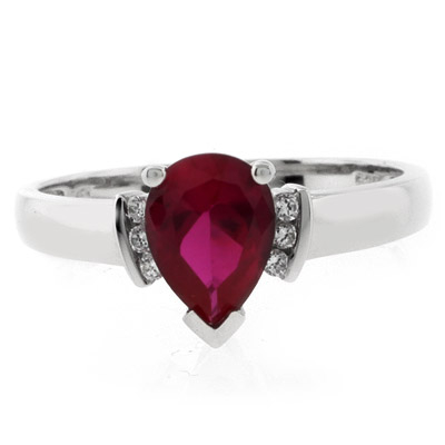 Elegant Red Ruby Promise Silver Ring