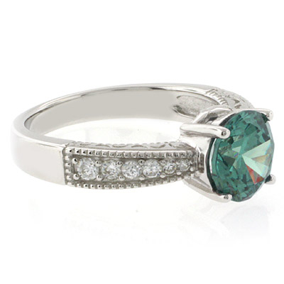 Round Alexandrite Sterling Silver Ring
