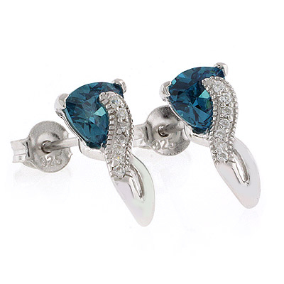 Alexandrite Post Style Silver Earrings Blue to Green