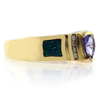 High Quality Australian Blue Opal Tanzanite Gold Ring