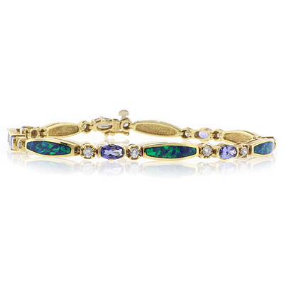 Genuine Tanzanite and Australian Opal Solid Gold Bracelet