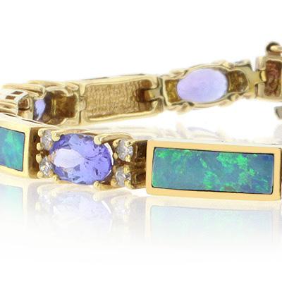 Genuine Australian Opal and Tanzanite Gold Bracelet