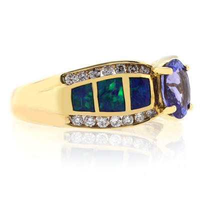 Opal with Tanzanite Gold Ring