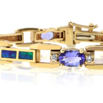 Best Online Genuine Tanzanite and Australian Opal Solid Gold Bracelet