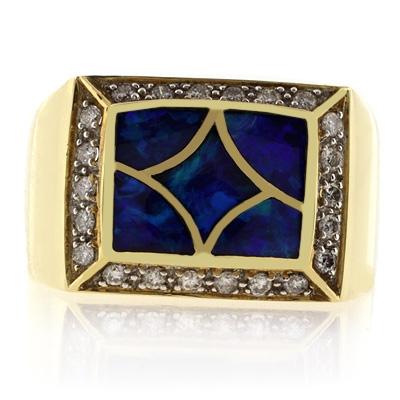 Genuine Opal Ring 0.28 ct tw Diamonds 14K Yellow Gold