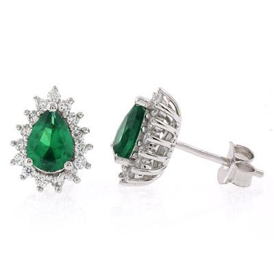 Pear Cut Emerald Silver Post Back Earrings