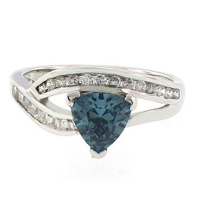 Trillion Cut Alexandrite Sterling Silver Ring
