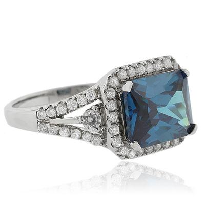 Emerald Cut Alexandrite Silver 925 Ring