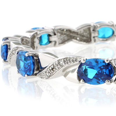 Blue Topaz Silver Bracelet Oval Brilliant Cut Special Gift